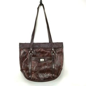 VTG MC Handbag Brown Leather Purse Basket Weave